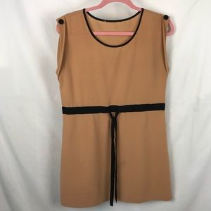 Forever 21 Camel Nude Black Belt Shift Dress M